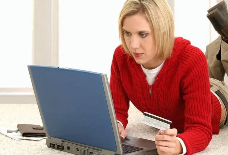 Woman reviewing credit report