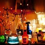 Halloween decorations of poison and chemical bottles
