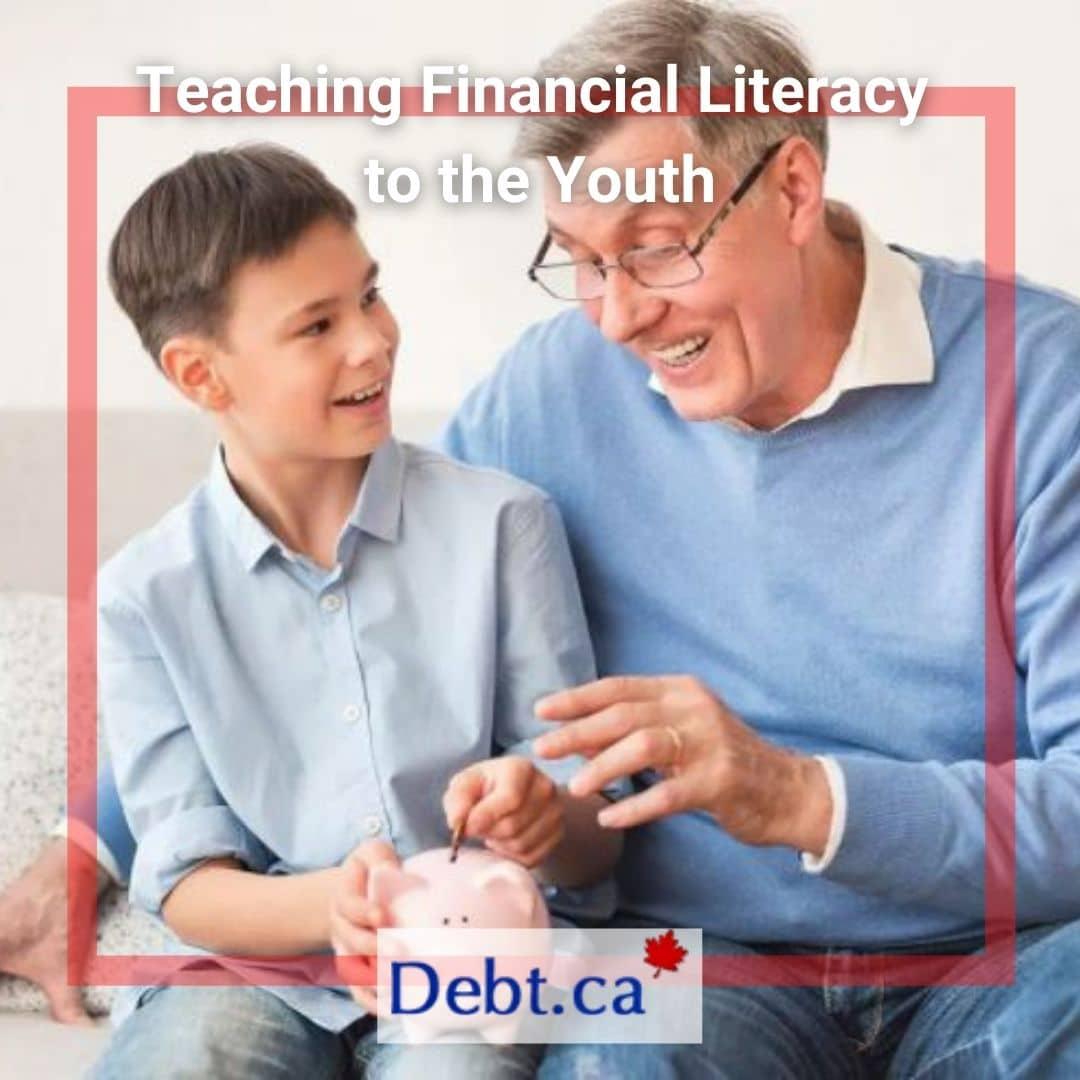 Old man teaching financial literacy to his grandson