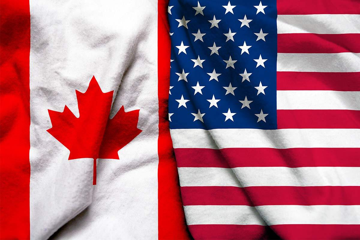 Canada and US flag