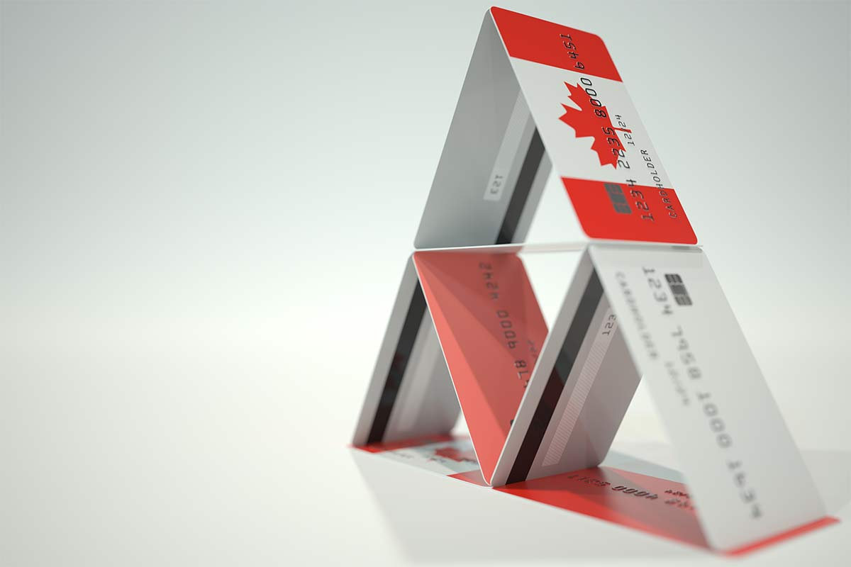 Flag of Canada on plastic bank card house