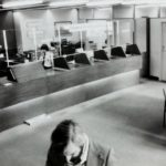 Black and white bank lobby